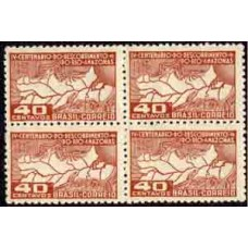 C-0178 - 1943 - 4º CENTENÁRIO DO DESCOBRIMENTO DO RIO AMAZONAS - QUADRA - MINT - RHM R$ 56,00 (16 UFs)