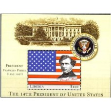 LIBÉRIA - 14° PRESIDENTE DOS USA - FRANKLIN PIERCE - 1853/1857